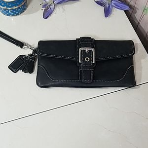 Coach Small Black Leather Wristlet Wallet (Vintage